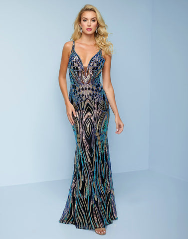 Splash Prom K505 This is a long multi sequins prom dress evening gown with a corset open back.  This evening gown has a plunging v neckline with a sheer illusion panel. Color Black Multi  Sizes 0-14