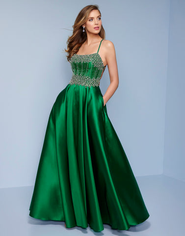 Splash Prom K506 This is an embellished satin emerald long prom dress with corset open back.  The bodice is embellished and it has pockets! Color Emerald  Sizes 0-14