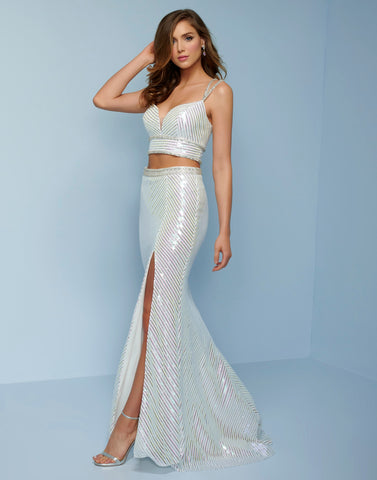 Splash Prom K507 two piece sequins long prom dress criss cross open back