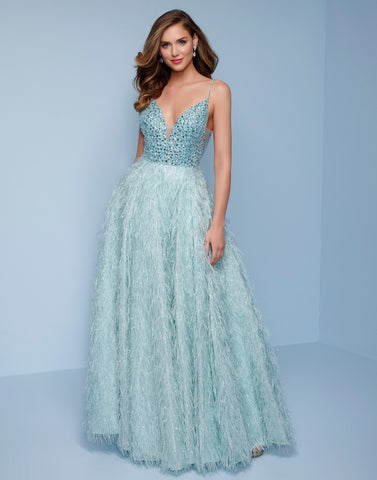 Splash Prom by Landa Designs K510 is a long A Line Formal evening gown. This Shimmering Ballgown Features an A Line Ball Gown Skirt embellished with lush Feathers. Fully Embellished Fitted V Neck Bodice with embellished spaghetti straps. Great for Prom, Pageants, Wedding guests & more! Available Sizes: 00,0,2,4,6,8,10,12,14,16  Available Colors: Aqua, Wine