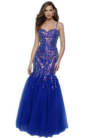 Splash Prom by Landa K512 is a long fitted Formal evening gown Featuring a Sequin embellished fitted mermaid silhouette. Sweetheart neckline with spaghetti straps. backless corset lace up tie closure. Full Trumpet tulle skirt.  Available Sizes: 00,0,2,4,6,8,10,12,14,16  Available Colors: Royal