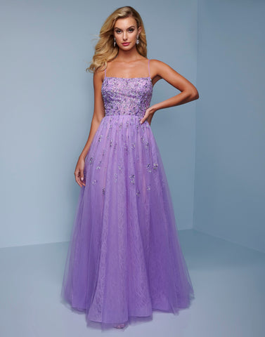 Splash Prom K516 This is a long lilac lace prom dress that is embellished heavily on the bodice and lightly throughout the skirt.  This evening pageant gown features a square neckline with spaghetti straps. Color Lilac  Sizes  00, 0, 2, 4, 6, 8, 10, 12, 14, 16, 18, 20, 22, 24, 26, 28