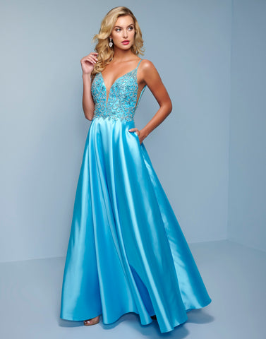 Splash Prom K518 This is a long A line Mikado prom, pageant and formal evening gown.  This prom dress has a plunging v neckline with illusion panel with sheer panels on the sides.  The bodice on this dress is embellished and the back is a high scoop. Colors Tiffany Blue, Yellow  Sizes   00, 0, 2, 4, 6, 8, 10, 12, 14, 16, 18, 20, 22, 24, 26, 28