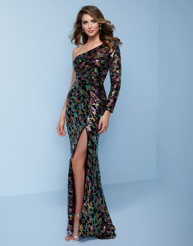 Splash Prom K520 This one shoulder, one long sleeve beaded prom dress has a beaded triangle pattern.  This evening pageant gown has a side side slit and ends with a sweeping train.  Color  Black Multi  Sizes  00, 0, 2, 4, 6, 8, 10, 12, 14, 16, 18, 20, 22, 24, 26, 28