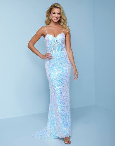 Splash Prom K525 This is an iridescent white column beaded prom dress.  This pageant evening gown has a v neckline and is sheer in the midriff showing the pattern of the sequins. Color Iridescent White  Sizes  00, 0, 2, 4, 6, 8, 10, 12, 14, 16, 18, 20, 22, 24, 26, 28