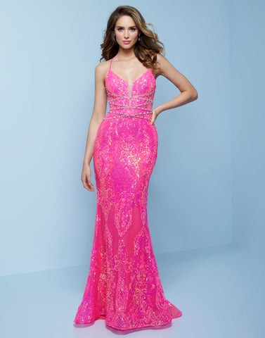 Splash Prom K526 This is a neon sequin column prom dress with low open lace up tie back.  This evening pageant gown features a plunging v neckline with criss cross beading in the front. Colors Neon Pink, Neon Blue Sizes  00, 0, 2, 4, 6, 8, 10, 12, 14, 16, 18, 20, 22, 24, 26, 28