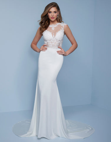 Splash Prom K530 This is a long crepe prom dress with an embellished sheer bodice.  It has a high sheer neckline and sheer back.  This could make an excellent wedding gown with the long train. Colors White, Light Blue  Sizes  00, 0, 2, 4, 6, 8, 10, 12, 14, 16, 18, 20, 22, 24, 26, 28