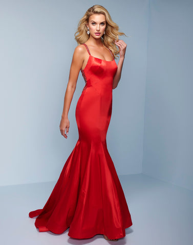 Splash Prom K539 This is a long satin mermaid prom dress with a scoop neckline and embellished straps.  This evening gown is backless and has embellished straps. Color  Red  Sizes  00, 0, 2, 4, 6, 8, 10, 12, 14, 16, 18, 20, 22, 24, 26, 28