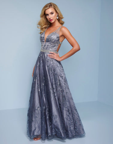Splash Prom K544 This is a long embellished v neckline A line prom dress with an open back and connecting embellished straps.  Prom, Pageant and Evening Gowns! Colors  Gunmetal, Emerald  Sizes  00, 0, 2, 4, 6, 8, 10, 12, 14, 16, 18, 20, 22, 24, 26, 28