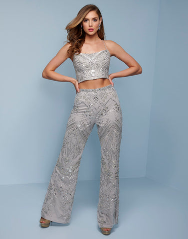 Splash Prom K545 This is a two piece pants suit,  embellished jumpsuit with a lace up tie corset back  Colors  Silver, Black  Sizes  00, 0, 2, 4, 6, 8, 10, 12, 14, 16, 18, 20, 22, 24, 26, 28