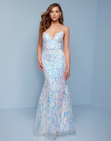 Splash Prom K548 This is a long v neckline sequin embellished column prom dress with strappy back.  Prom, Pageant and Formal Evening Gowns! Colors  White, Light Blue, Blush  Sizes  00, 0, 2, 4, 6, 8, 10, 12, 14, 16, 18, 20, 22, 24, 26, 28
