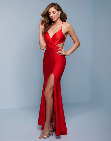Splash Prom K552 This is a v neckline prom dress with a ruched criss cross bodice neckline.  This formal evening pageant gown has spaghetti straps that cross and tie in the open back.  The floor length skirt has a side slit. Colors  Red, Teal  Sizes  00, 0, 2, 4, 6, 8, 10, 12, 14, 16, 18, 20, 22, 24, 26, 28
