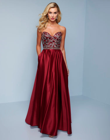 Splash Prom K555 This is a strapless sweetheart A line satin prom dress, pageant gown and formal evening gown with an embellished bodice.  Color Marsala  Sizes  00, 0, 2, 4, 6, 8, 10, 12, 14, 16, 18, 20, 22, 24, 26, 28