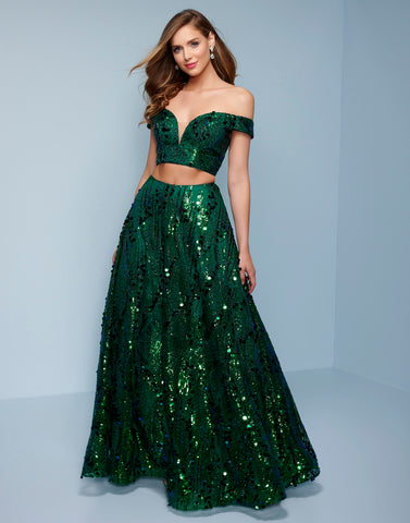 Splash Prom K556 This is an off the shoulder two piece A line prom dress with paillette sequins.  Color Emerald  Sizes  00, 0, 2, 4, 6, 8, 10, 12, 14, 16, 18, 20, 22, 24, 26, 28