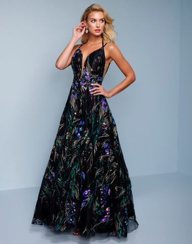 Splash Prom K565 This is a sequin A line prom dress with a halter tie neckline.  This formal evening gown is backless. Colors  Black Multi, Purple Multi  Sizes  00, 0, 2, 4, 6, 8, 10, 12, 14, 16, 18, 20, 22, 24, 26, 28