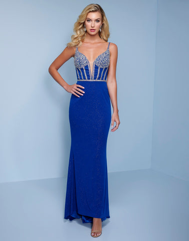 Splash Prom K566 This is a metallic shimmer jersey long prom dress with embellished bodice and plunging v neckline.  This column evening pageant gown features a side slit and sweeping train.   Color Royal  Sizes  00, 0, 2, 4, 6, 8, 10, 12, 14, 16, 18, 20, 22, 24, 26, 28