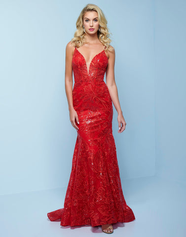 Splash Prom K567 This is a long column prom dress with flared skirt at the end and sweeping train.  This formal evening pageant gown is designed with lace that has sequins scattered throughout the dress.  It has a plunging neckline and sheer panel and a low scoop back. Color Red  Sizes  00, 0, 2, 4, 6, 8, 10, 12, 14, 16, 18, 20, 22, 24, 26, 28