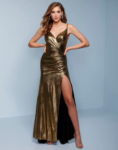 Splash Prom K568 This is a shimmery gold long prom dress with ruching and a side slit.  The neckline of this formal evening pageant gown is a wrap v style and the skirt is a fit and flare to the floor. Color  Gold  Sizes  00, 0, 2, 4, 6, 8, 10, 12, 14, 16, 18, 20, 22, 24, 26, 28