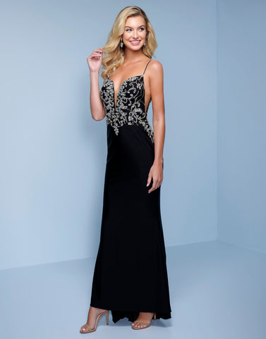 Splash Prom K573 This is an embellished bodice smooth crepe long prom dress.  This formal evening pageant gown has a plunging v neckline with illusion panels at the neckline an sides.  It has a low scoop sheer back and sweeping train. Color Black  Sizes  00, 0, 2, 4, 6, 8, 10, 12, 14, 16, 18, 20, 22, 24, 26, 28