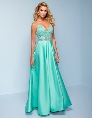 Splash Prom k575 This long prom dress starts with an embellished bodice with embellished straps that criss cross in the back.  The formal evening pageant gown has a matching embellished waistline.  The floor length skirt is smooth satin and has a sweeping train.  Perfect for you next prom or pageant. Color Mint  Sizes  00, 0, 2, 4, 6, 8, 10, 12, 14, 16, 18, 20, 22, 24, 26, 28