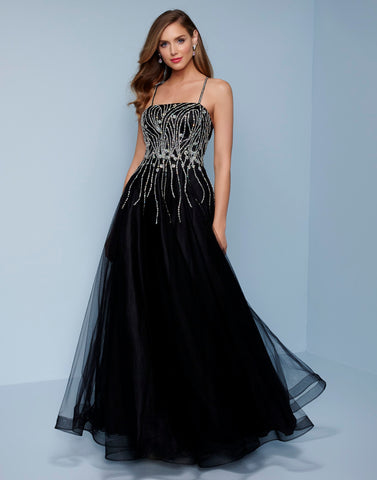Splash prom K577 This is a long tulle prom ballgown.  This formal evening gown has a straight neckline with embellished spaghetti straps that cross in the open back.  The bodice has silver sequins that stream down the prom dress.  It has horsehair trim on the full floor length skirt. Color Black  Sizes  00, 0, 2, 4, 6, 8, 10, 12, 14, 16, 18, 20, 22, 24, 26, 28