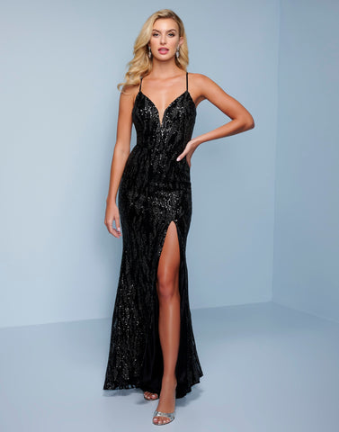Splash Prom K579 This is a long column prom dress with sequins throughout.  It has a plunging v neckline with a sheer panel and spaghetti straps that wrap over the shoulders and criss cross several times and tie.  The floor length skirt has a side slit. Color Black  Sizes  00, 0, 2, 4, 6, 8, 10, 12, 14, 16, 18, 20, 22, 24, 26, 28