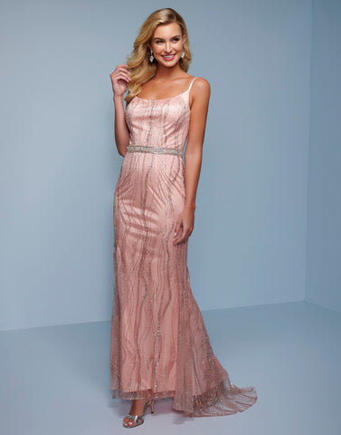 Splash Prom K582 This is a long column prom dress with a scoop neckline and scoop back.  The floor length embellished tulle skirt on this formal evening pageant gown has a sweeping train. Color Blush  Sizes  00, 0, 2, 4, 6, 8, 10, 12, 14, 16, 18, 20, 22, 24, 26, 28