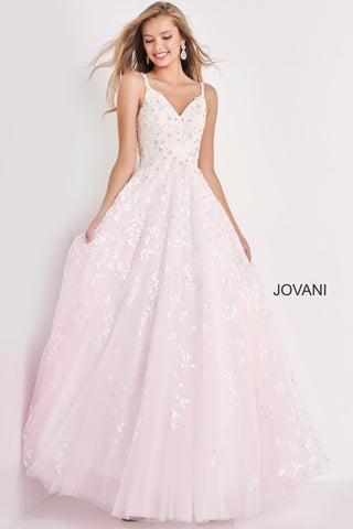 Jovani Kids k65648 is a Girls Party Dress, Kids Pageant Gown & Pre Teen Formal Evening Wear gown. This Long A Line Ballgown Features a V neckline with Detailed Embellished Floral Appliques that add a touch of Shimmering Glam along the bodice cascading into the A line Embellished Skirt. Absolute Show Stopper! Stunning Pink Tulle Under layer gives a White / Pink Pastel Color Effect under the shimmering embellishments.  Available Girls Sizes: 8, 10, 12, 14  Available Colors: White/Pink