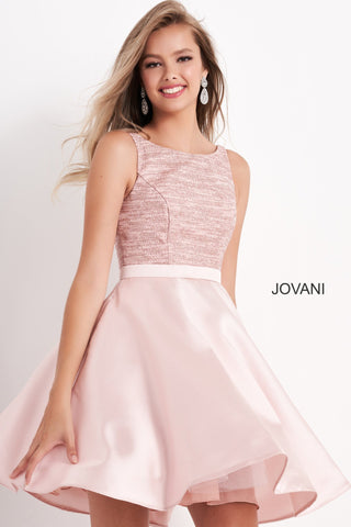Jovani Kids k66600 is a Short Girls Party Dress, Kids Pageant Gown & Pre Teen Formal Evening Wear gown. This Short Girls Gown Features a Metallic Shimmer fitted Bodice with a boat neck. Flared short skirt. V Back.  Available Girls Sizes: 8, 10, 12, 14  Available Colors: blush, navy, white
