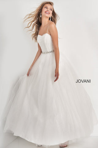 Jovani Kids k66712 is a Girls Prom Dress, Kids Pageant Gown & Pre Teen Formal Evening Wear gown. K66712 This is a Girls Tulle Ballgown with a straight neckline with spaghetti straps. ruched bodice with a crystal accented waist belt and a full tulle skirt. Corset lace up back tie closure. Great Pageant Dress or Girls Flower girl Gown. Great for Preteens!   Available Girls Sizes: 8, 10, 12, 14  Available Colors: Off White, Blue