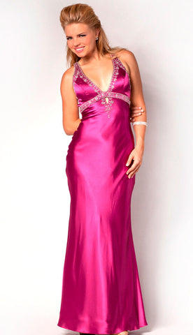 Nina Canacci Fuchsia size 8 prom dress satin Gown Pageant Long formal