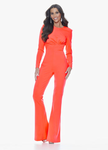 Ashley Lauren 11046 We love this neoprene jumpsuit with flare legs and long sleeves. The bustier has modern ruching and the back is finished with an exposed zipper.  Colors Neon Orange, Turquoise, Fuchsia  Sizes  0, 2, 4, 6, 8, 10, 12, 14, 16,  Jumpsuit Neoprene Long Sleeve Flare Pant Legs Exposed Zipper