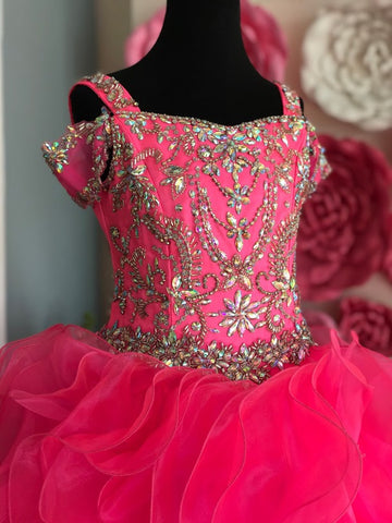 Little Rosie LR2134 Size 8 Hot Pink Girls Glitz Ruffle Pageant Dress Off the Shoulder