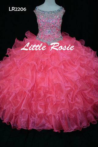 Little Rosie LR2206 Size 8, 10 Girls Pageant Dress Glitz Ruffle Skirt High Neck Sheer