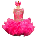 Little Rosie SR365 Size 4 Girls Hot Pink Cupcake Pageant Dress Ruffle Tassel Beaded