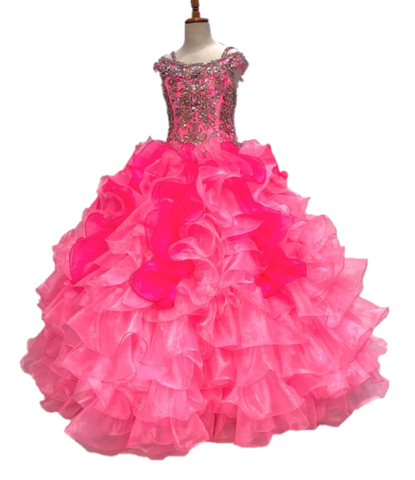 Little Rosie 2139 Size 6 Long Girls Pageant Dress Ballgown Ruffle Off the Shoulder