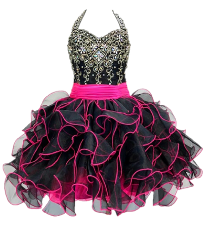 Little Rosie SR203 Size 4 Glitz Cupcake Halter Pageant Dress Black Hot Pink Ruffle