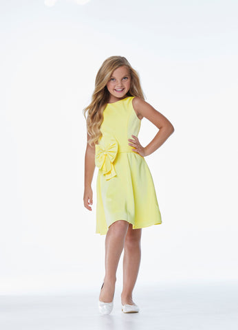 Ashley Lauren 8040 Girls and Preteen's tea length crepe short dress fun fashion party dress with high neckline sleeveless design and bow detail at the waistline.  Colors  Yellow, Blush, Fuchsia, Ivory  Sizes  4, 6, 8, 10, 12, 14