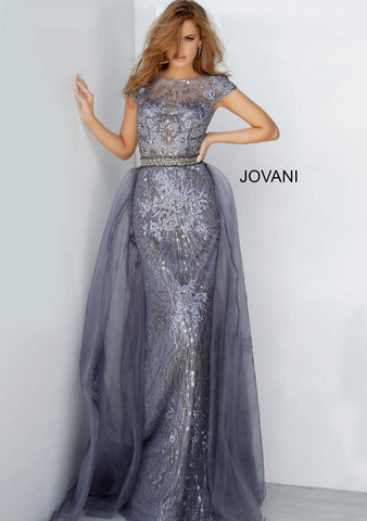 Jovani 02327 embroidered cap sleeve evening gown with overskirt