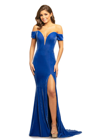 Johnathan Kayne 9227 off the shoulder velvet mermaid prom dress with train