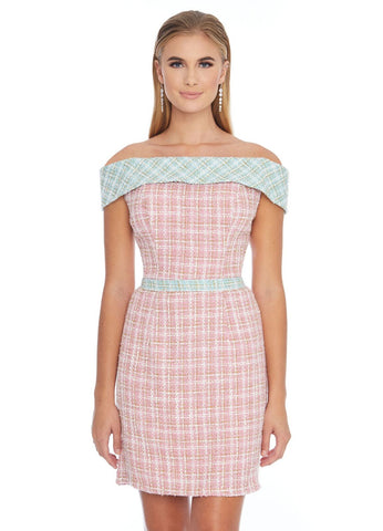 Ashley Lauren 4329 Off the shoulder two tone tweed cocktail dress