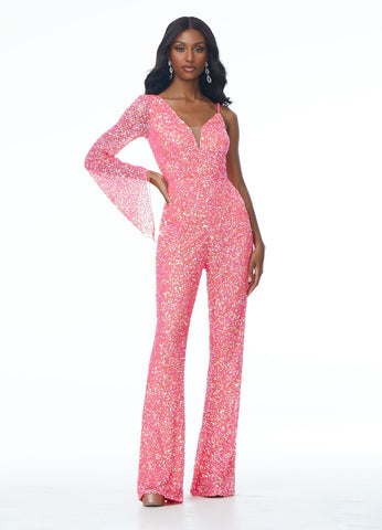 Ashley Lauren 1987 Show off your playful side at your next pageant in this fully hand beaded jumpsuit. The bell sleeve and bell bottoms pants add a 70's flair. The pants are finished with pockets.  Available colors:  Black, Hot Pink  Available sizes:  0, 2, 4, 6, 8, 10, 12, 14, 16  Prom Jumpsuit One-Shoulder Bell-Sleeve Pockets Beaded