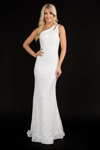 Nina Canacci 2291 one shoulder lace long wedding dress prom bridal gown. This dress has a cutout at the shoulder strap and has a sheer lace back with a sweeping train. Color: Ivory  Sizes:  0,2,4,6,8,10,12,