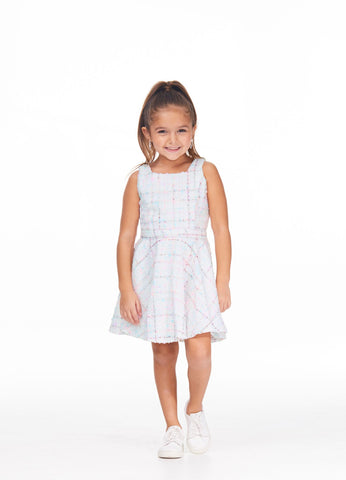 Ashley Lauren 8041 Girls short tweed dress square neckline pageant dress fun fashion party dress Colors  Ivory  Sizes  4, 6, 8, 10, 12, 14
