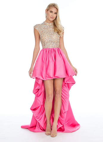 Ashley Lauren 1787 embellished cap sleeve hi low prom dress Formal Gown Fun