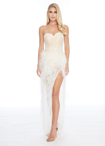 Ashley Lauren 1901 Beaded Bustier Body Suit Feather High Low Dress Formal Sexy