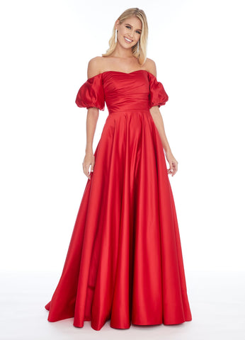 Ashley Lauren 1790 off the shoulder puff sleeve ball gown prom dress