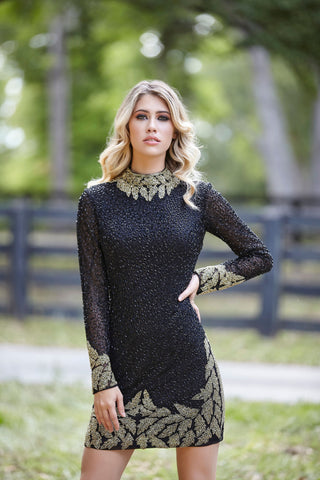 Primavera Couture 3320 long sleeve high neckline cocktail dress short sequins homecoming dress