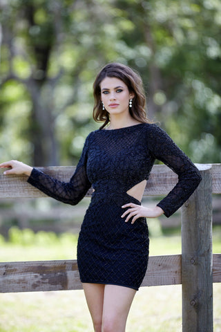 Primavera Couture 3307 long sleeve short homecoming dress