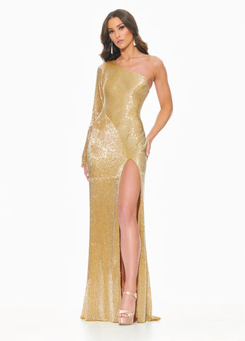 Ashley Lauren 11048 Steal the show in this fully liquid beaded evening gown with one sleeve. The liquid beading is perfectly placed along the bustier to accentuate your figure. The skirt is finished with a left leg slit.  Colors Gold, Pearl Ivory  Sizes  0, 2, 4, 6, 8, 10, 12  Fully Liquid Beading One Shoulder Slit Long Sleeve